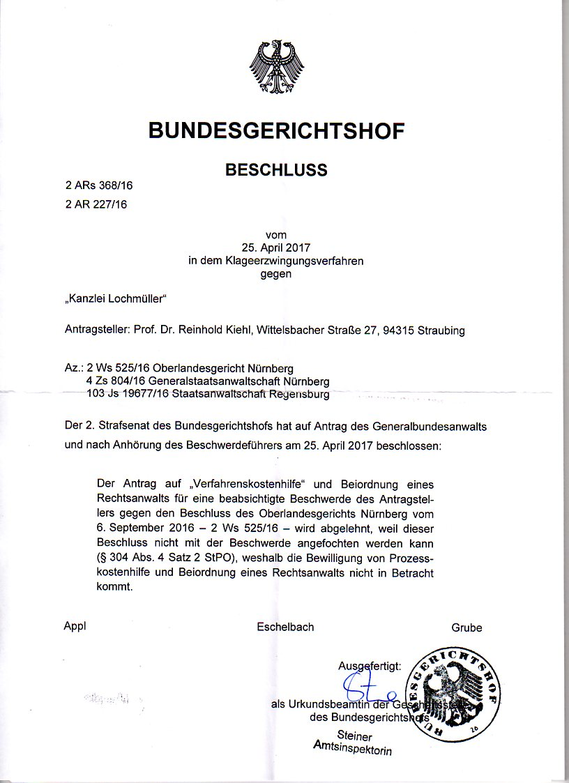 """... 25.04.2015/E.11.05.2017 .... ein Schreiben der Präsidentin des BGH zu  diversen """"Problemen"""" Meine Anzeigen mit Ermittlungsverfahren, Anfrage des  BGH 2."""