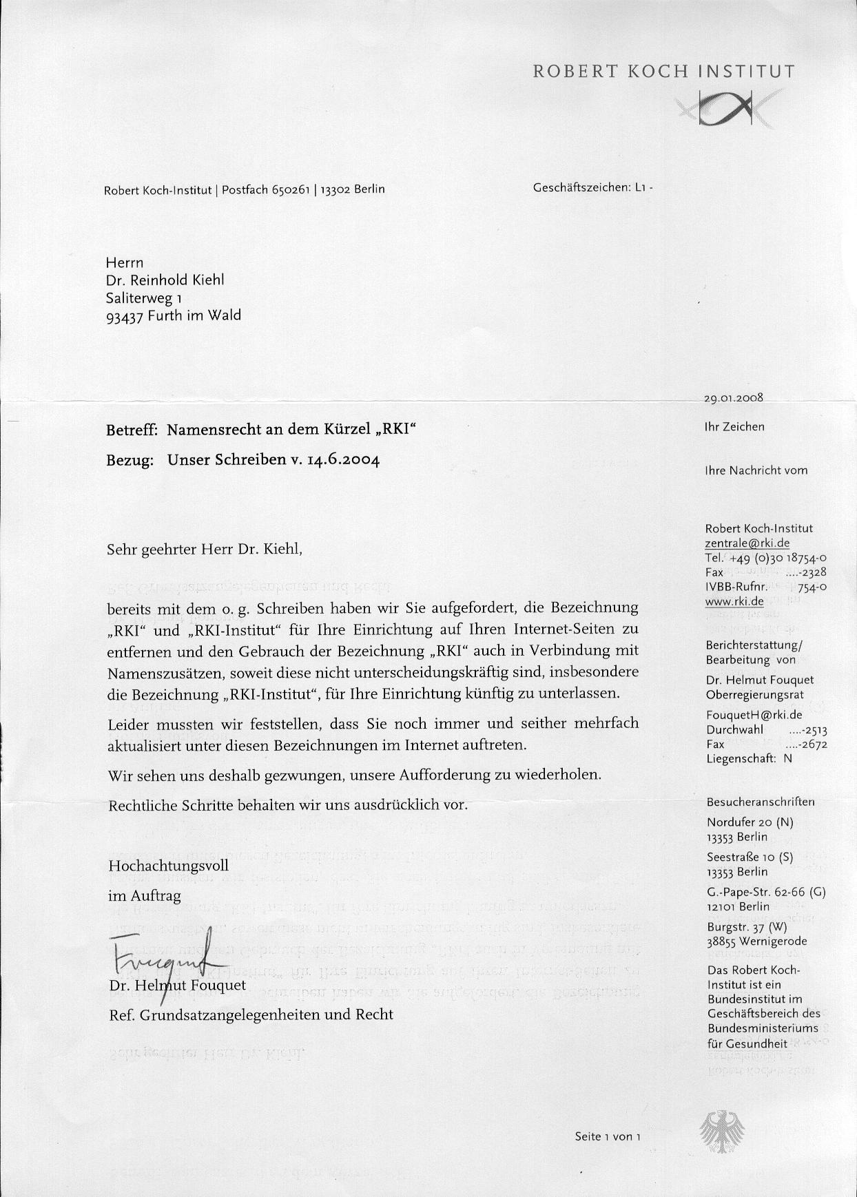 Homepage des RKI-Instituts Dr. Reinhold Kiehl